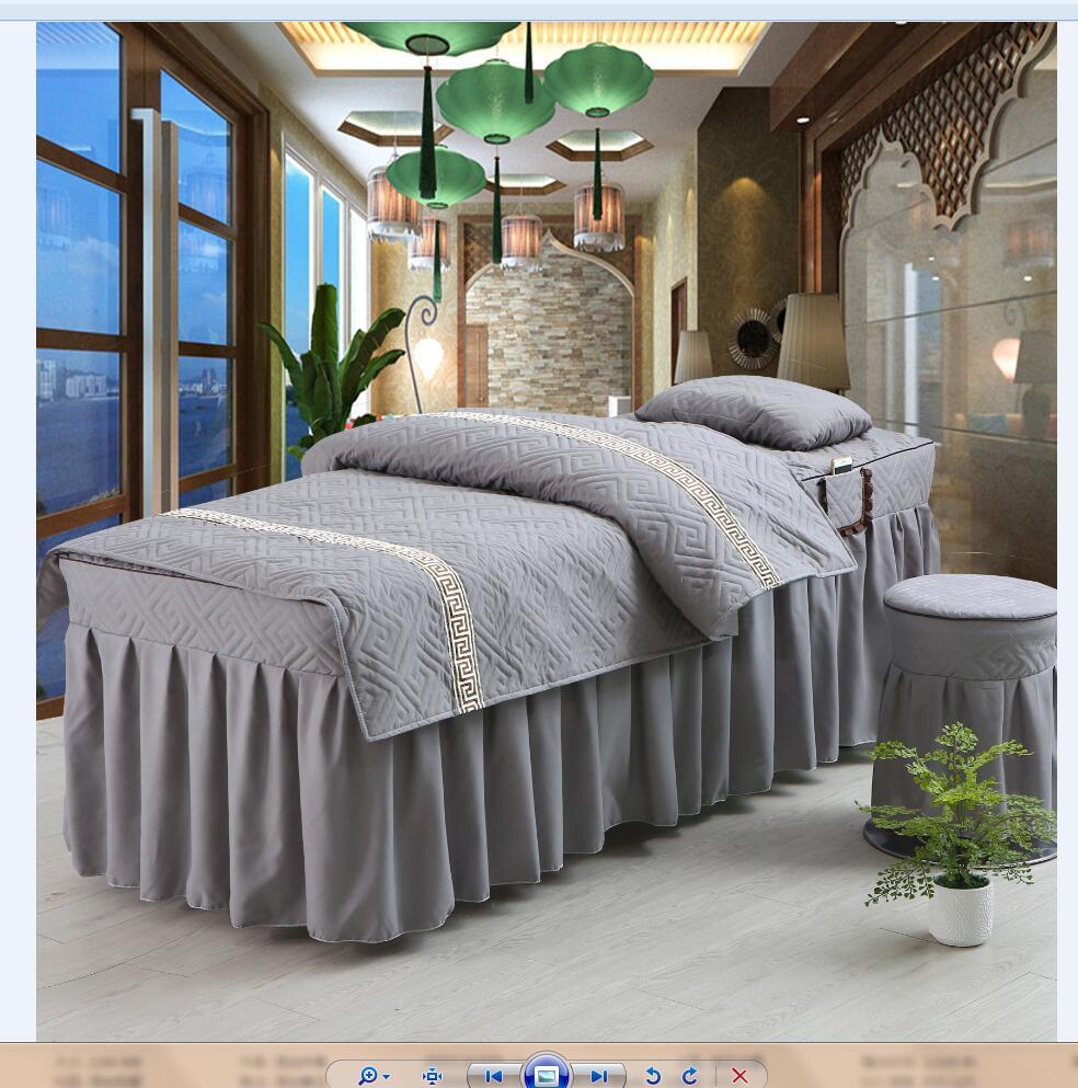 宽洗头床罩包邮 80 美容院高档揉按床上用品 SPA 美容床罩四件套理疗