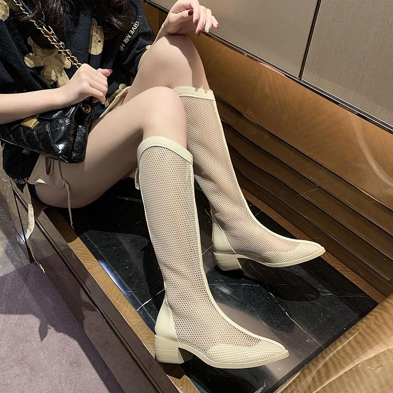 网靴镂空长筒靴网纱粗跟长靴女2021年新款夏季高筒靴凉靴靴子薄款