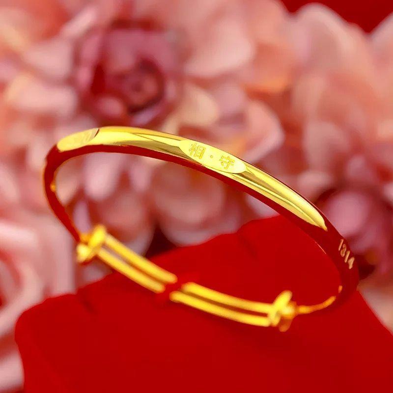 越南沙金手镯黄金色手镯手链光面时尚女手镯不褪色礼物  送戒指