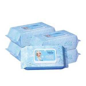 冰雪奇缘儿童湿纸巾迪士尼湿巾纸专用擦手屁屁袋装带盖80抽*5包