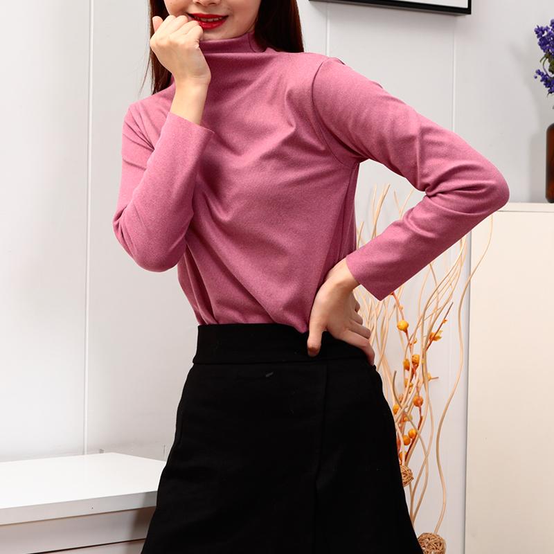 2020秋季新款阳离子德绒半高领针织衫女保暖休闲衫韩版打底衫长袖