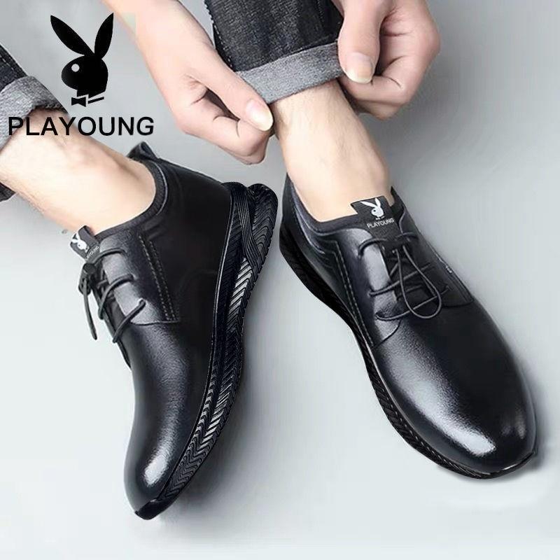 男鞋鞋子中年网面透气男士春夏季皮鞋单鞋系带豆豆鞋低帮