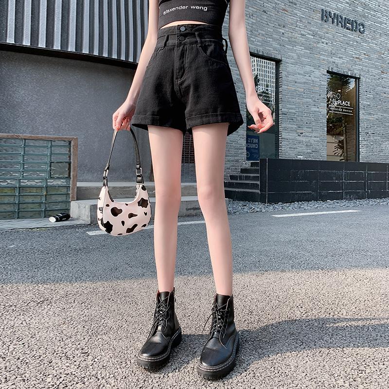 TQMKGU实拍白色牛仔短裤女超高腰显瘦夏季新款a字宽松超短裤齐腰