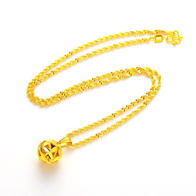 时尚流行款女士黄金色项链锁骨链运转珠项链 富贵花吊坠  女款首饰