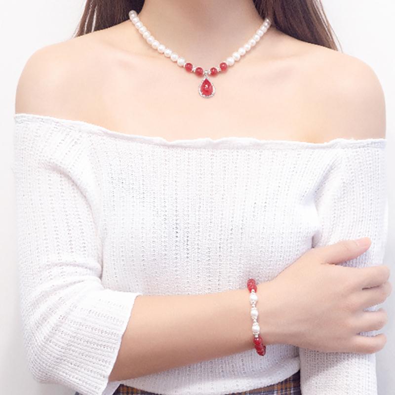 三件套珍珠项链女圆淡水珍珠锁骨链吊坠送妈妈婆婆  母亲节礼物