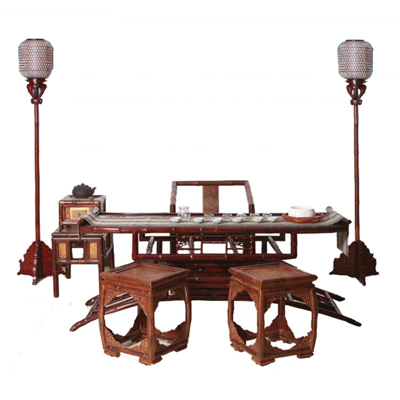 原竹弧形茶海竹鼓凳太师椅茗竹居明清仿古艺术茶桌椅六件套装包邮