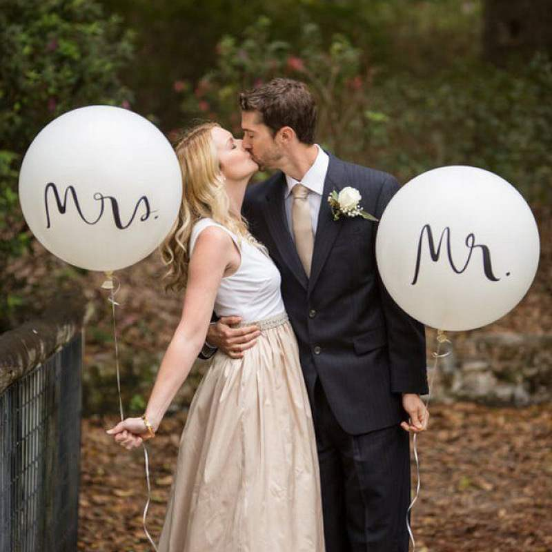 新款跨境热卖速卖通36寸mrmrs乳胶结婚婚礼派对装饰气球圆形