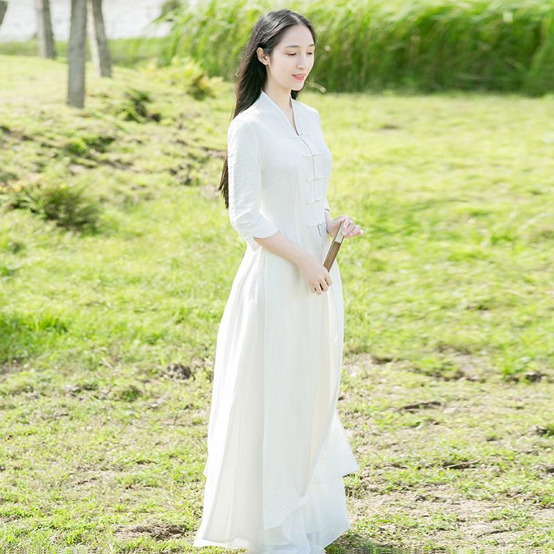 山有色 秋季中国风女装复古外套改良汉服棉麻长款修身风衣外披  2019