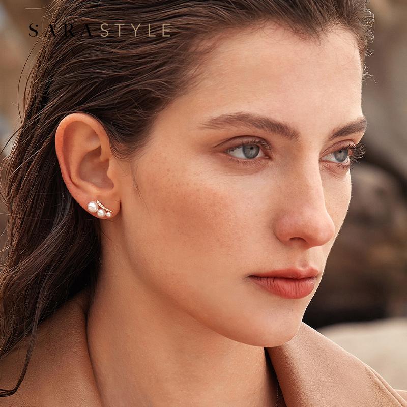 18K  钻石耳环耳饰 ins sarastyle 轻奢天然新款时尚 金淡水珍珠耳钉女