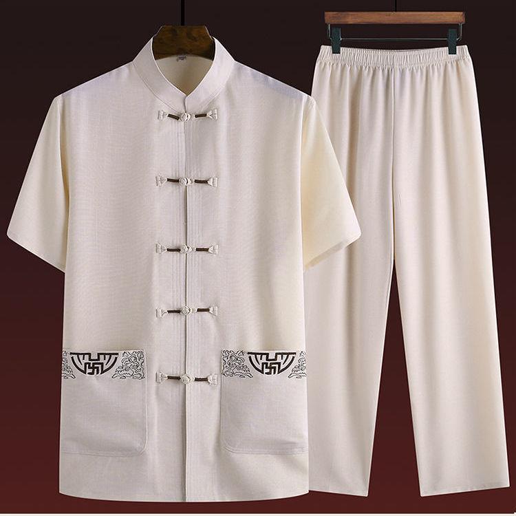 中老年唐装男短袖棉麻套装爸爸夏装爷爷老年衣服中国风汉服男装