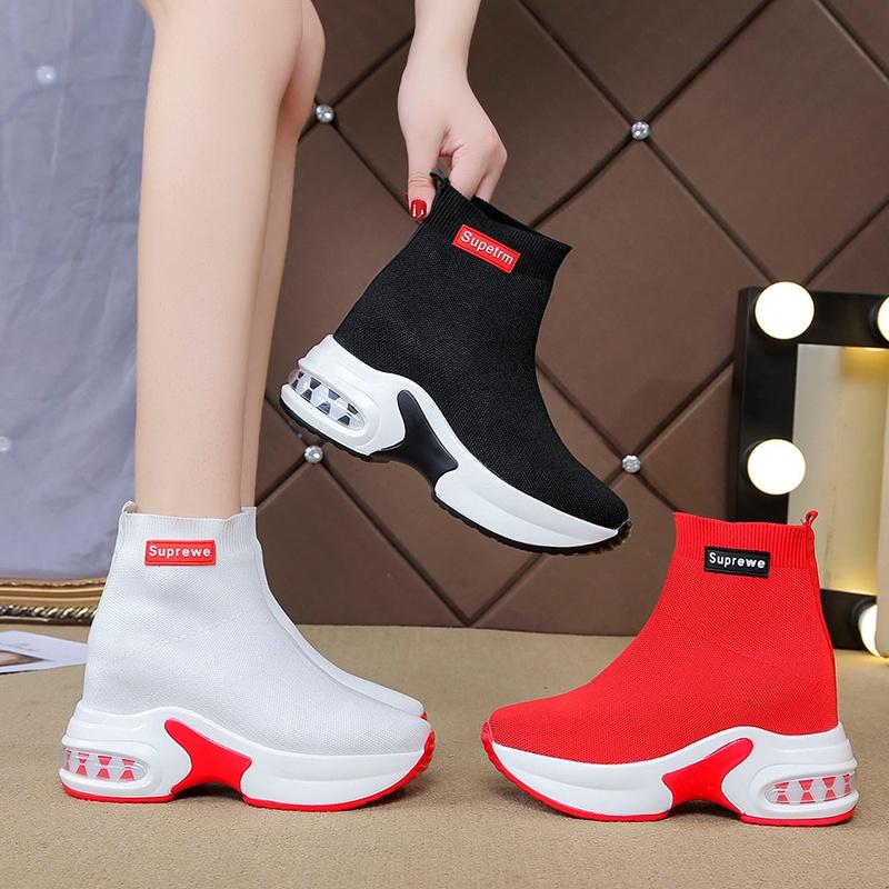 夏季网面休闲高帮鞋女2021新款厚底增高弹力袜子鞋百搭内增高女鞋