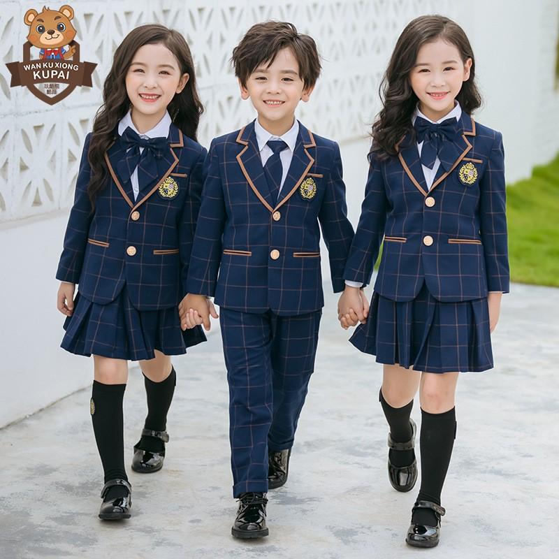 幼儿园园服英伦学院风格子西服小学生班服西装儿童校服春秋套装帅