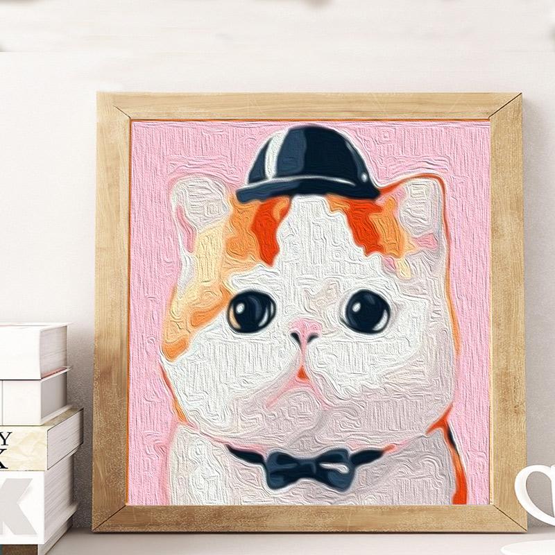 diy数字油彩画加菲猫 儿童油画填色小尺寸治愈手工画画涂色画填充