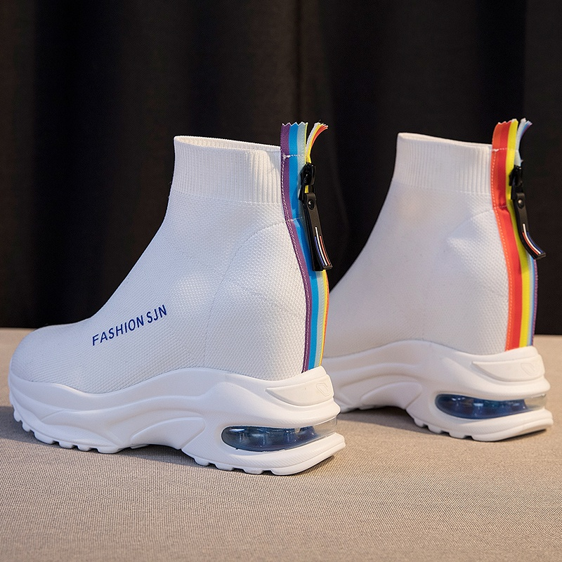飞织弹力袜子鞋女2021春秋新款内增高厚底松糕运动夏季透气高帮鞋