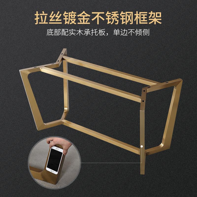 北欧大理石餐桌椅组合长方形现代简约可定制不锈钢家用设计师餐桌