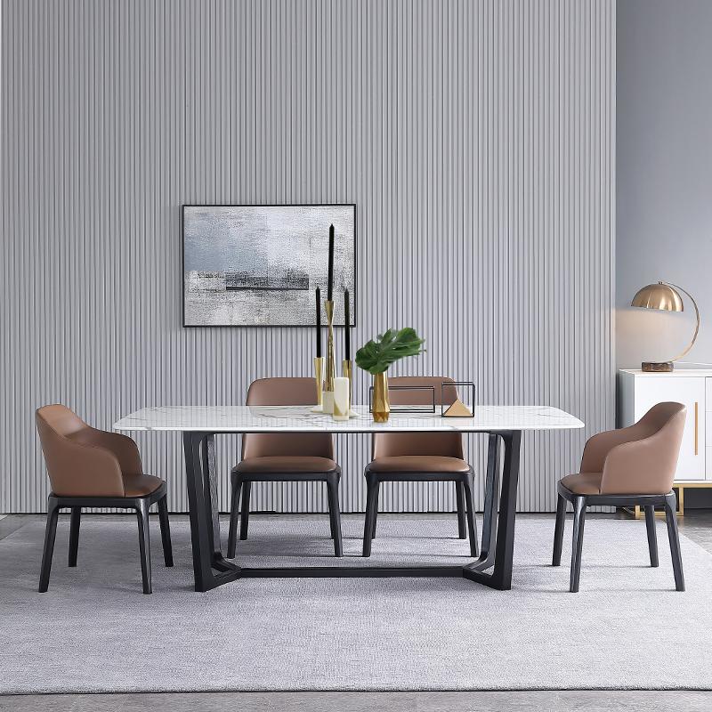 北欧大理石餐桌 现代简约小户型长方形实木餐桌椅组合6人创意定制