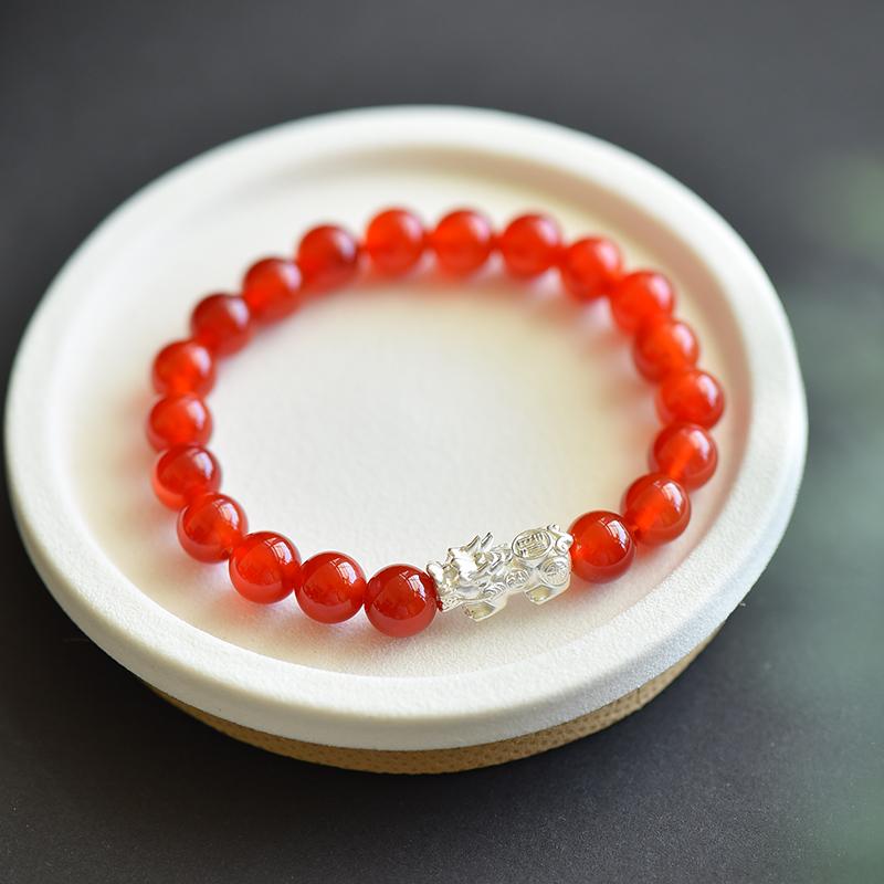 天然红玛瑙貔貅手链冰红玛瑙手串银貔貅钱钱款招财转运男女礼物