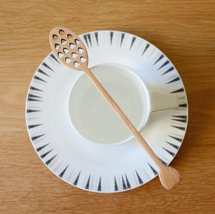 木质长柄咖啡搅拌勺手工缠线蜂蜜调羹创意家用调味勺多款木质餐具