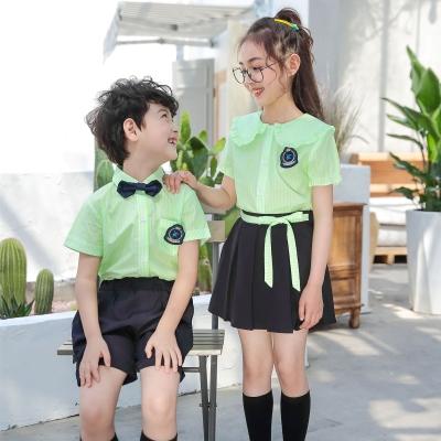 幼儿园园服夏季校服小学生绿色娃娃领条纹短袖衬衫男女童裙子套装