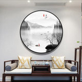 New Chinese-style circular landscape Zen Zen porch decoration painting living room dining room study painting corridor corridor tea room mural