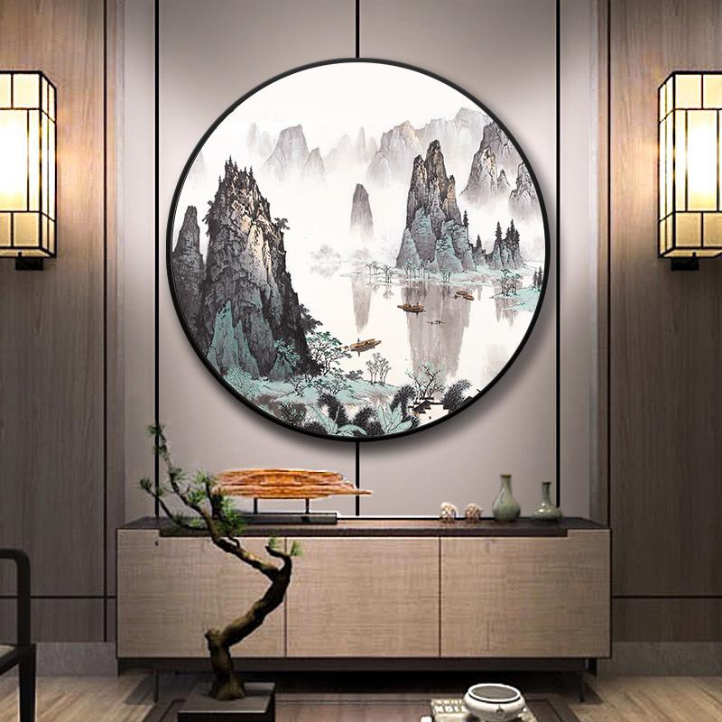 新中式玄關山水畫圓形裝飾畫千峰競秀壁畫漓江客廳國畫大氣掛畫