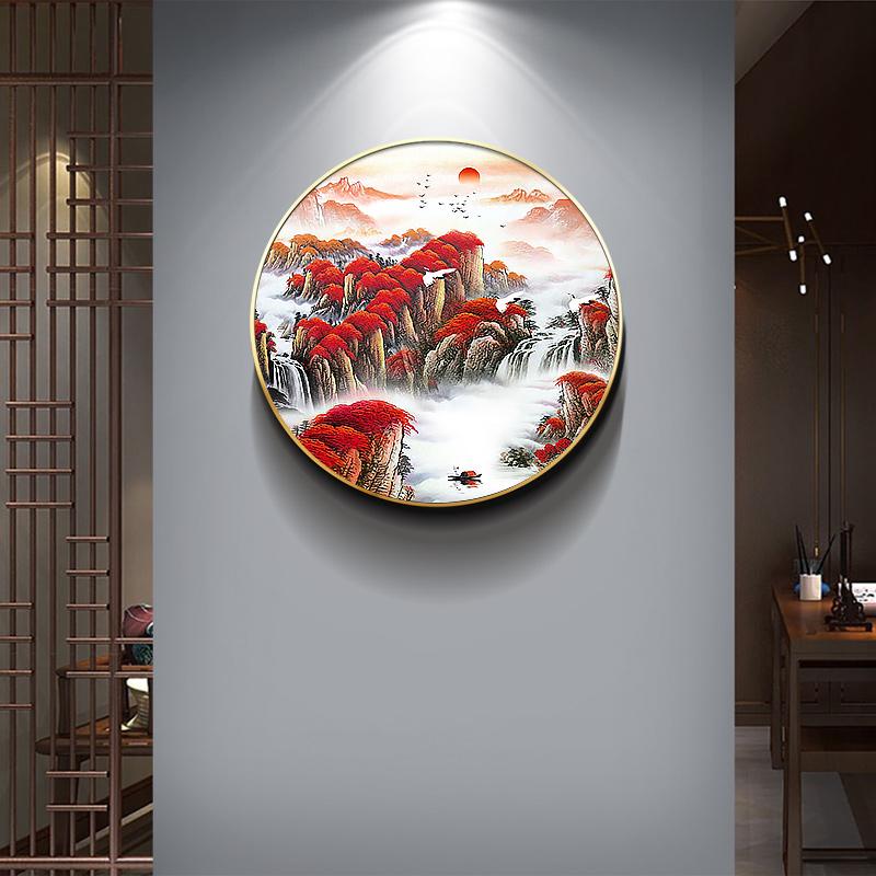 新中式圓形裝飾畫客廳背景墻掛畫走廊過道玄關壁畫茶室  鴻運當頭
