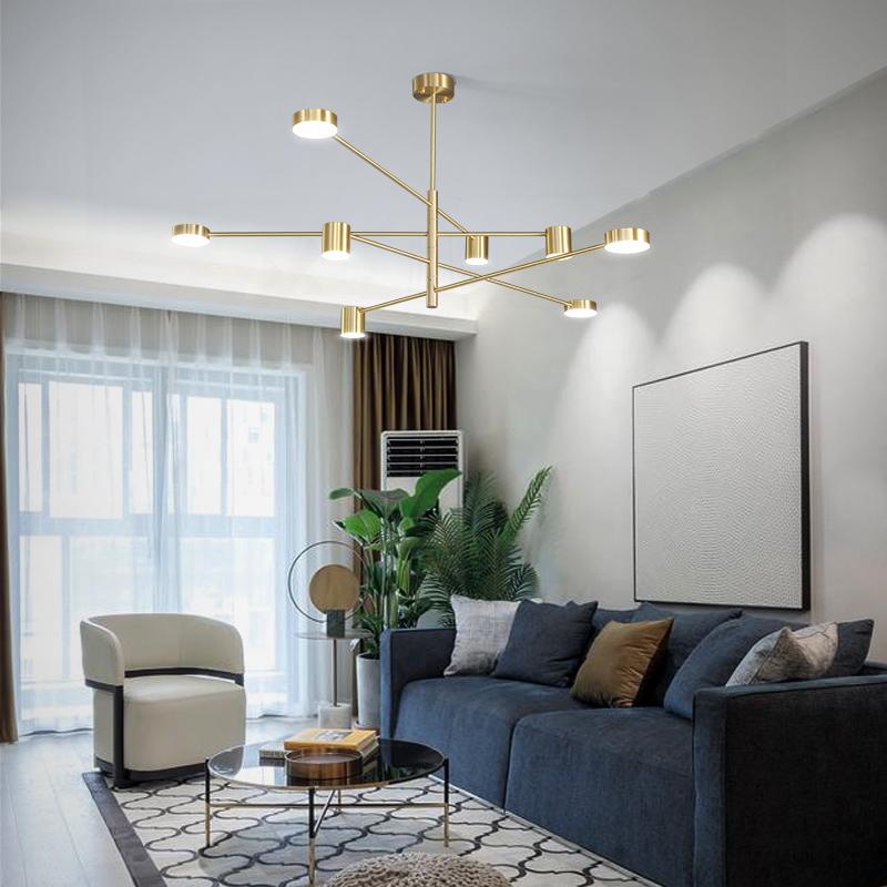 北欧全铜吊灯现代简约大气家用客厅灯具创意个姓极简餐厅卧室吊灯