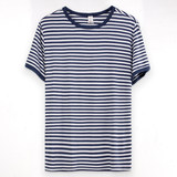 Blue jealous striped single top T-shirt men's spring and summer pajamas short-sleeved youth middle-aged modal cotton large size home service