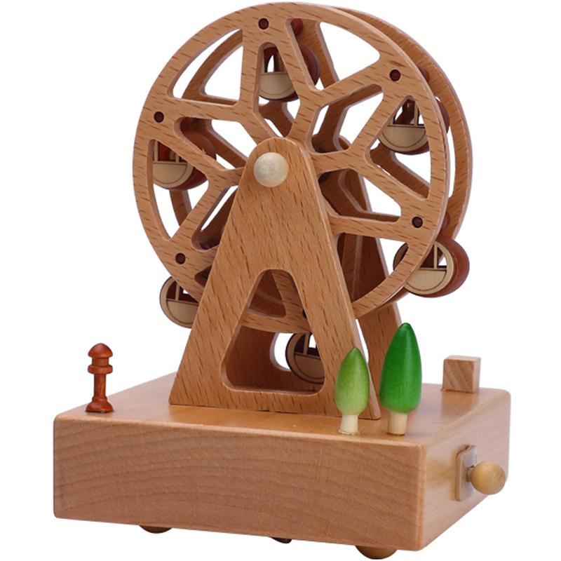 旋转木马音乐盒水晶球八音盒木质天空之城女孩生日礼物女生送女友