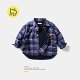 Neutral mipo boys plus velvet thick warm plaid shirt autumn and winter baby long-sleeved shirt