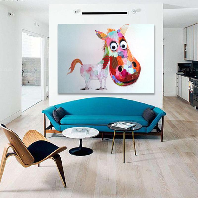 現代臥室純手繪油畫卡通馬小孩房掛畫客廳壁玄關無框畫餐廳掛畫