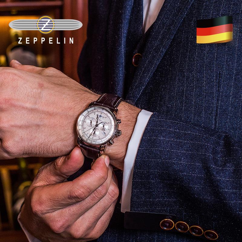 齐博林德国进口手表复古手表男石英表真皮防水男士多功能商务腕表