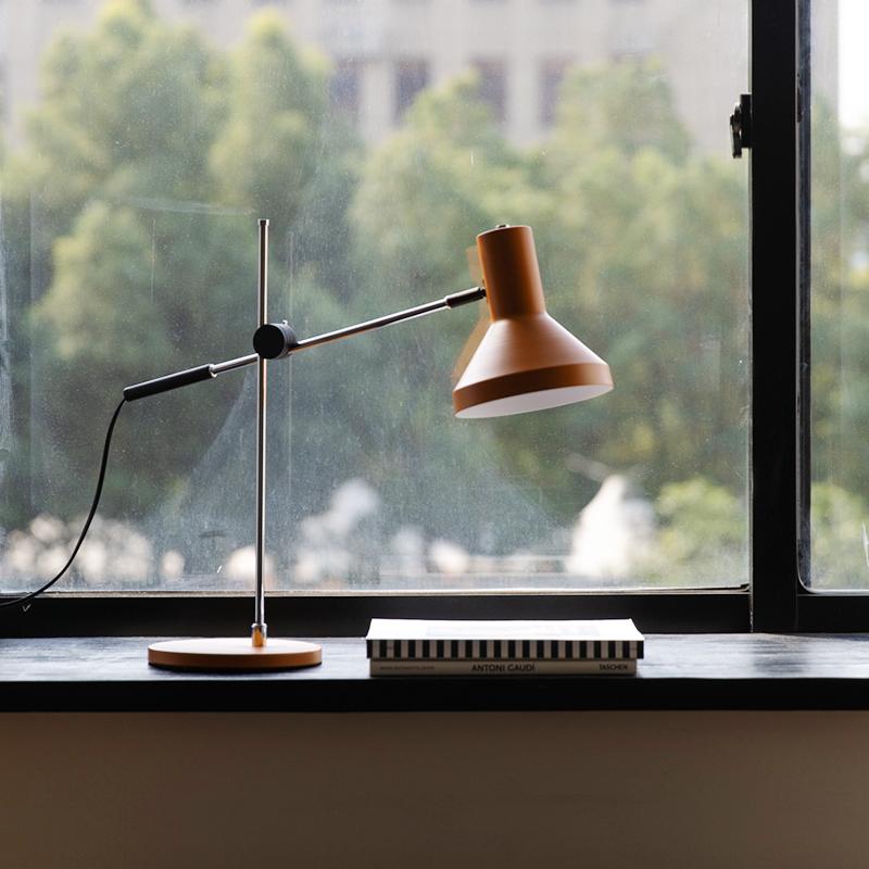 小聪台灯复古风可调角度全金属台灯护眼阅读写字灯 淡光 二黑木作