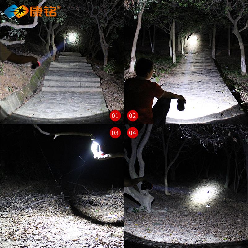 康铭LED手电筒强光可充电超亮户外巡逻远射家用照明手提式探照灯