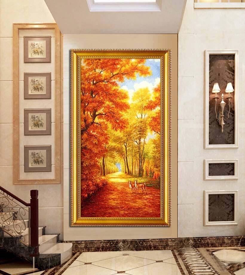 纯手绘风景油画欧式玄关装饰画竖版过道小鹿黄金大道满地招财壁画