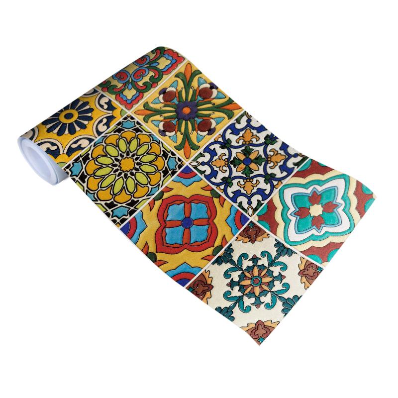 地中海复古瓷砖贴纸厨房卫生间浴室防水装饰墙纸壁纸腰线花砖地贴