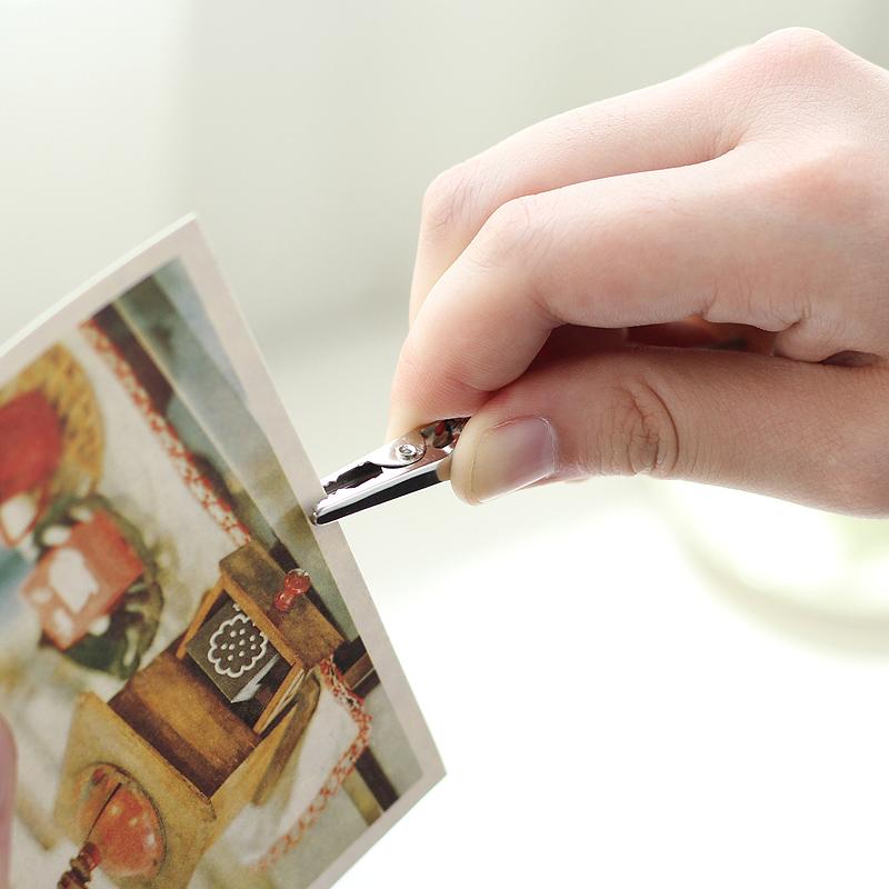 创意复古彩色木质留言夹便签夹座摆件桌面留言夹照片夹便条夹子