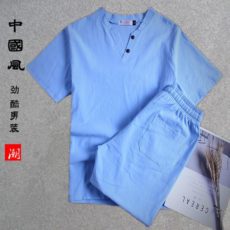 肥佬夏季新款亚麻短袖T恤短裤套装男士加大码日系棉麻半袖体恤潮