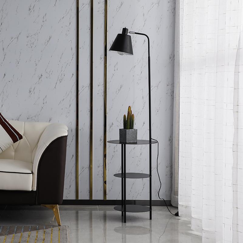 后现代极简轻奢卧室落地灯带置物架北欧简约现代床头客厅沙发台灯