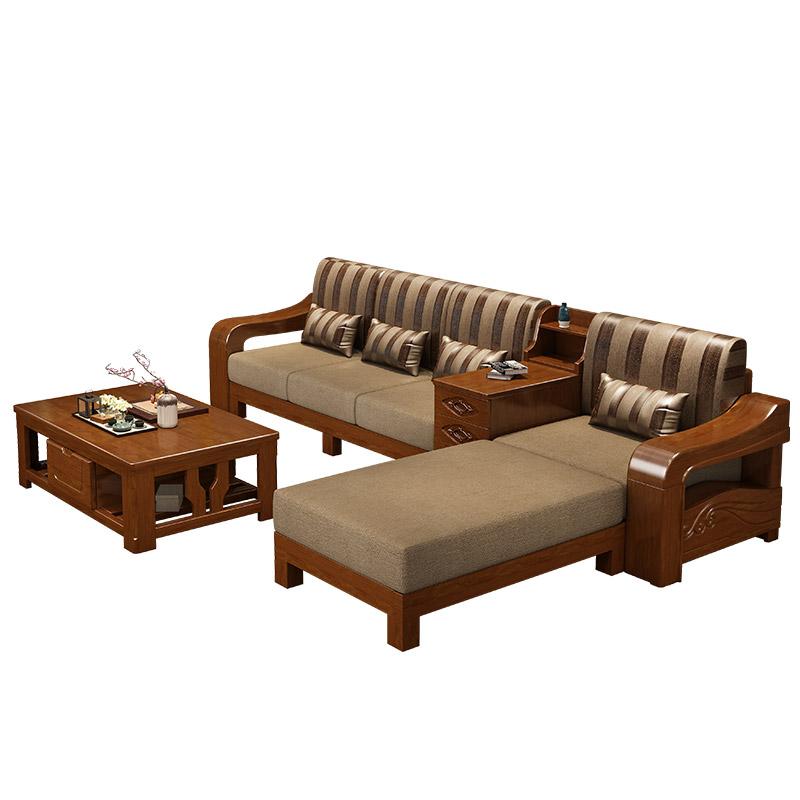 全实木沙发组合现代新中式小户型橡木质制沙发农村经济型客厅家具