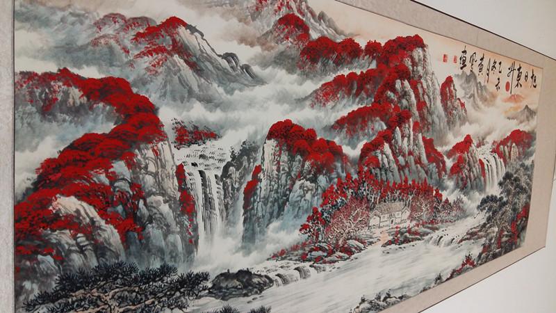 国画山水画办公室字画书法客厅书画作品名家手绘已装裱 旭日东升