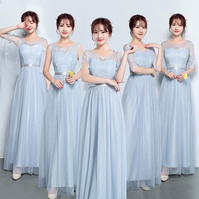 伴娘礼服女2019新款大码姐妹团伴娘服长款豆沙色显瘦喇叭袖连衣裙