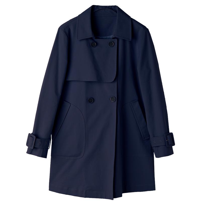 香衣丽橱2021春季新款女装藏青色修身显瘦小个子短款外套风衣女