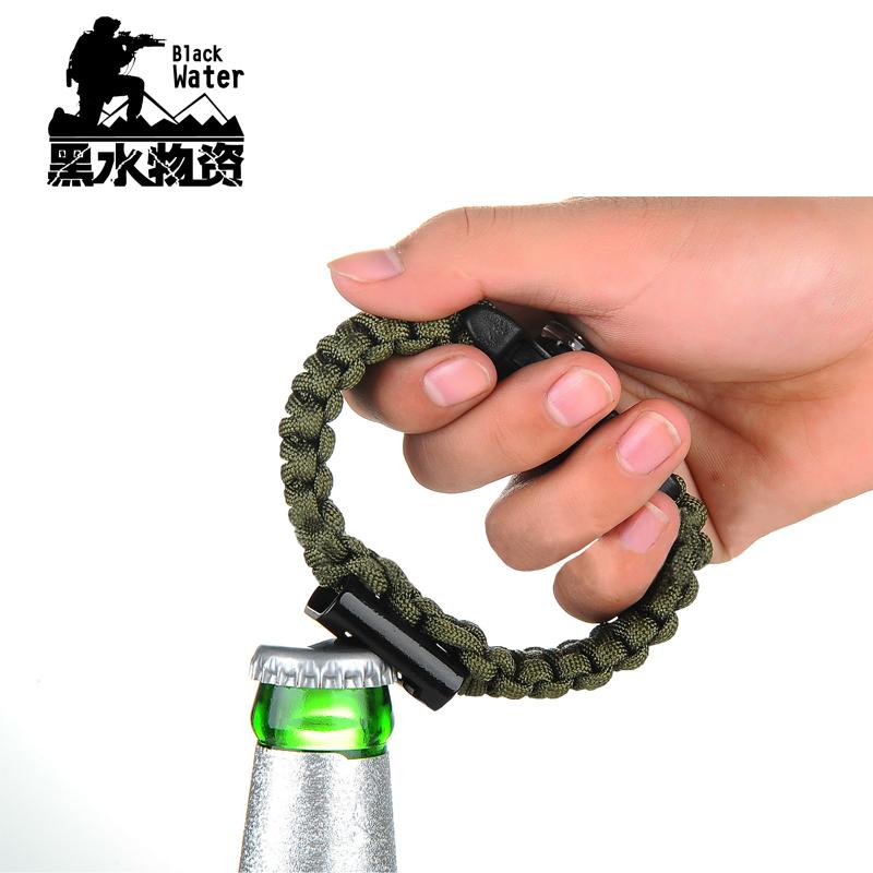戰狼安全繩救生傘繩手鍊荒野求生鎂棒打火石戰術手環開瓶器取火器