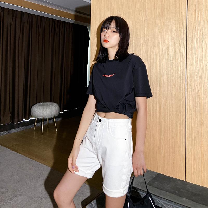 白色五分裤女夏季薄2021新款高腰牛仔短裤女宽松显瘦港风阔腿中裤主图