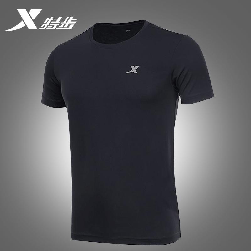 特步短袖t恤男夏季薄款透气训练服速干上衣跑步运动健身服半袖短t