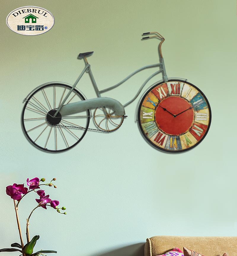 复古挂钟客厅创意墙饰自行车酒吧装饰墙上地中海风格装饰壁饰