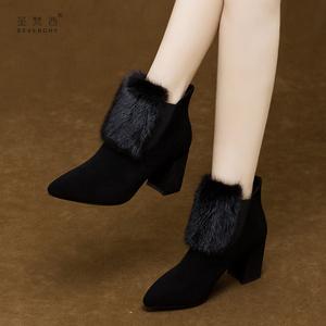 貂毛女靴2019年新款秋冬季尖头高跟磨砂短靴女粗跟百搭真皮鞋加绒