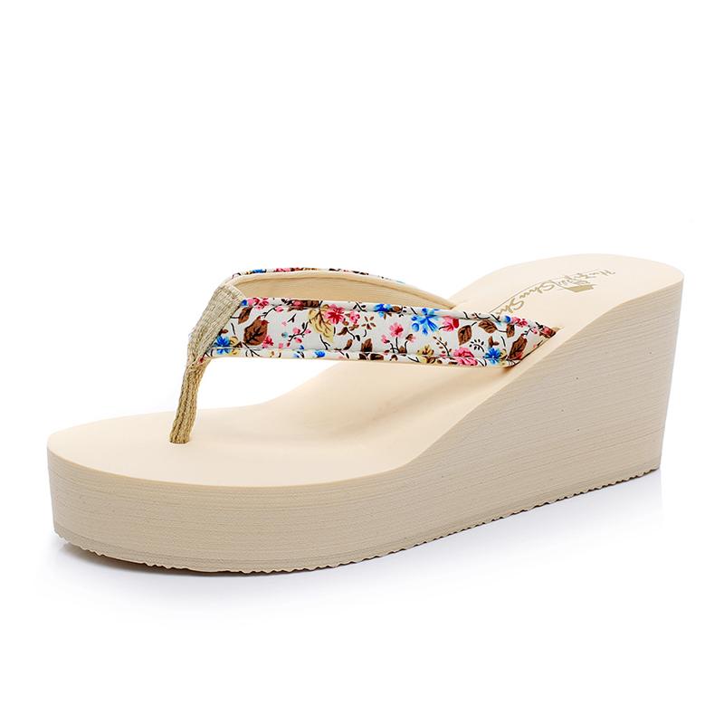 夏季可爱高跟人字拖女厚底防滑坡跟凉鞋沙滩鞋夹脚松糕鞋凉拖鞋