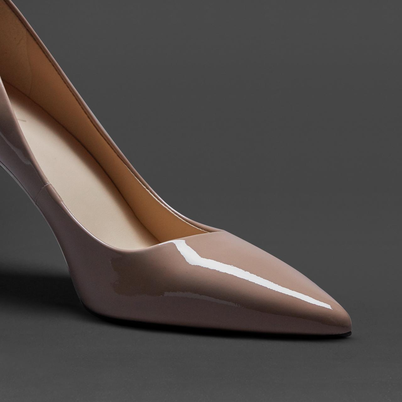 烫社交女鞋杏裸色漆皮细高跟鞋尖头百搭职业cl工作鞋气质性感单鞋